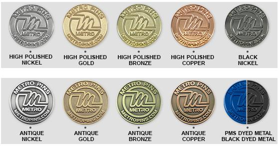 Plating Options Metal Trading Pins Amp Coins By Metro Pins